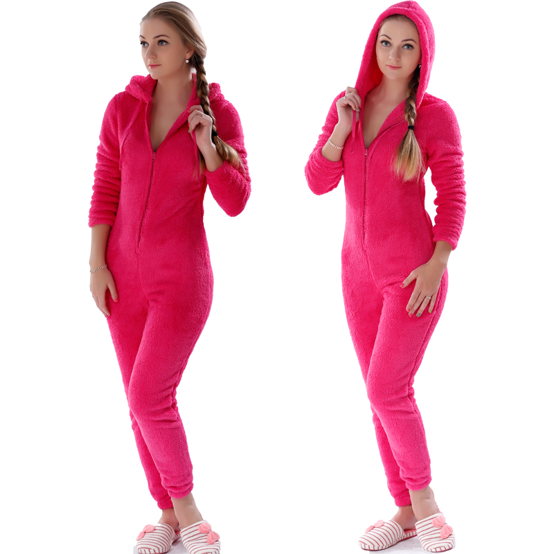 Winter Warm Pajamas, Women's Sleepwear Fleece Pajamas Set, Lounge Hooded Pajamas 5