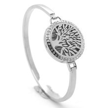 30mm Silver Round Stainless Steel Tree Of Life Locket Aromatherapy Essential Oil Diffuser Bangle Bracelet With Crystals(China)