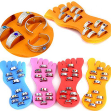 Mixed 12Pcs/Lots New Crystal Adjustable Foot Toe Rings & 1 Foot Pad For Women Men Party Jewelry Gift Accesssories(China)