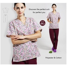 New Arrival!Hospital Man Woman Doctor Gowns Wash Clothes Medical Clothing Nurse Surgical Uniform Printing Scrub Set,70(China)