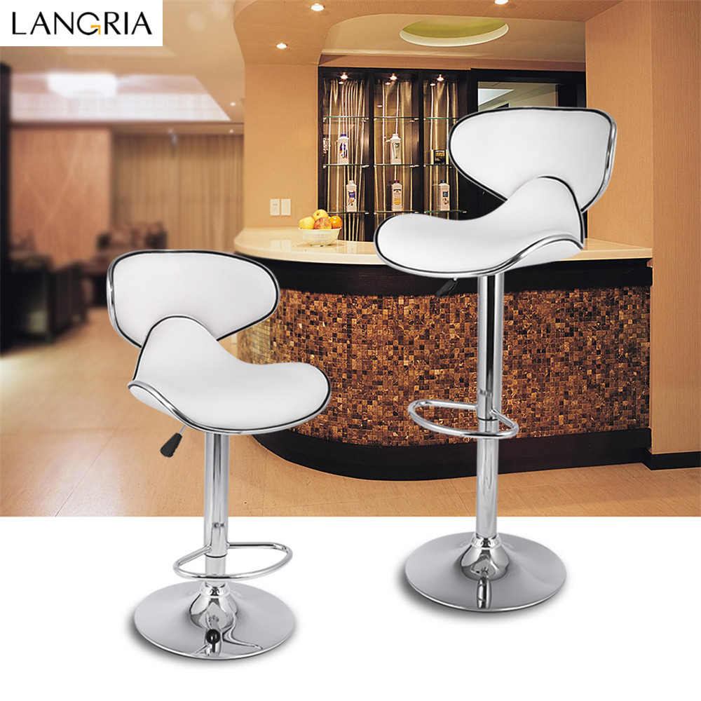 LANGRIA Set of 2 Gas Lift Height Adjustable Swivel Faux Leather Wrap-Around Bar Stools Chairs with Chromed Base and Footrest 01
