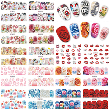 48pcs Nail Art Stickers Flower/Newspaper/Lips Mixed Decals Water Transfer Full Wraps Nail Tips Decor DIY Accessorie LABN553-600(China)