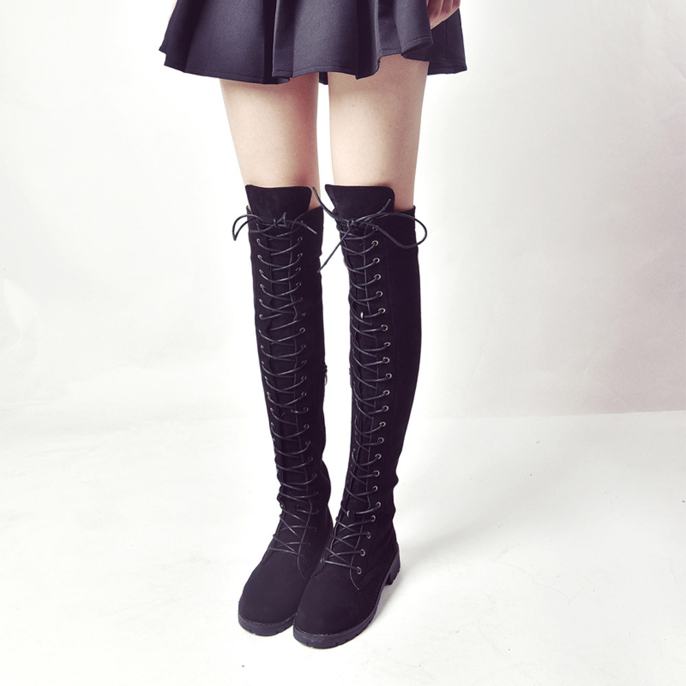 Women Cross-tied Platform Shoes High Boots Over The Knee Boots Flat Heel Boots 35-40 <br>