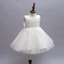 Girls Princess Communion Dress White Little baby Bridesmaid Wedding Pageant Dresses Bow Elegant Evening Party White Girl Clothes