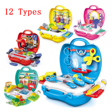 12 Types pretend Play Children simulation kitchen cooking tableware dressing cash register suitcase doctor Kids Plastic toy set