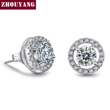 Silver Color Hearts & Arrows cut 0.75 carat Cubic Zirconia Silver Color Stud Earring Wedding Earrings for Women ZYE836(China)