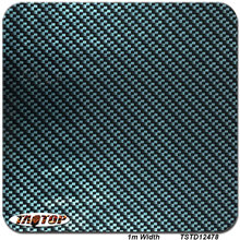 TSTD12478 1M * 10M BLACK BLUE carbon fiber square transparent car decoration Hydrographics Film Water Transfer Printing Films