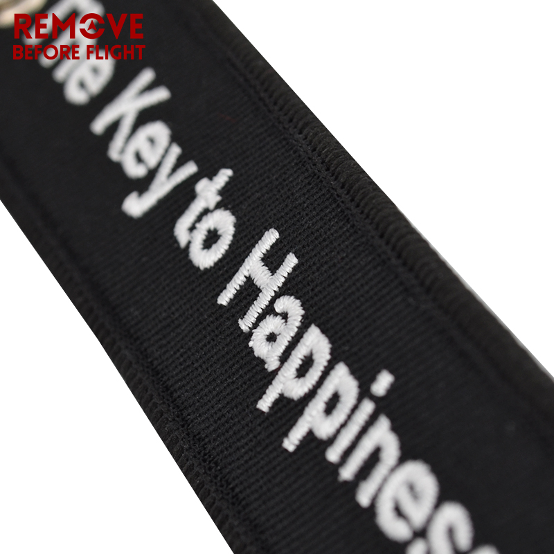 The Key to Happiness Key Chain Bijoux Keychain for Motorcycles and Cars Gifts Key Tag Embroidery Key Fobs OEM Key Ring Bijoux (11)