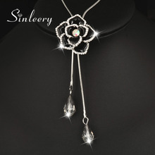 SINLEERY Vintage Black Enamel Rose Flower Double Lines Long Pendant Necklace Sweater Chain For Women Costume Jewlery MY443 SSD(China)