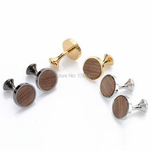 2016 Hot New Round Wood Cufflinks hedgehog sandalwood Cuff Links Wedding Best Men's Presents and Gifts for Men With Gift Box(China)