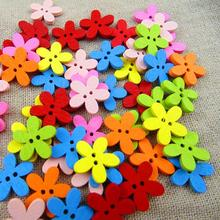 holesale 100pcs 14x15mm Multicolor Cute Flower Natural Decoration Sewing Scrapbooking Wood Buttons FZ0111(China)
