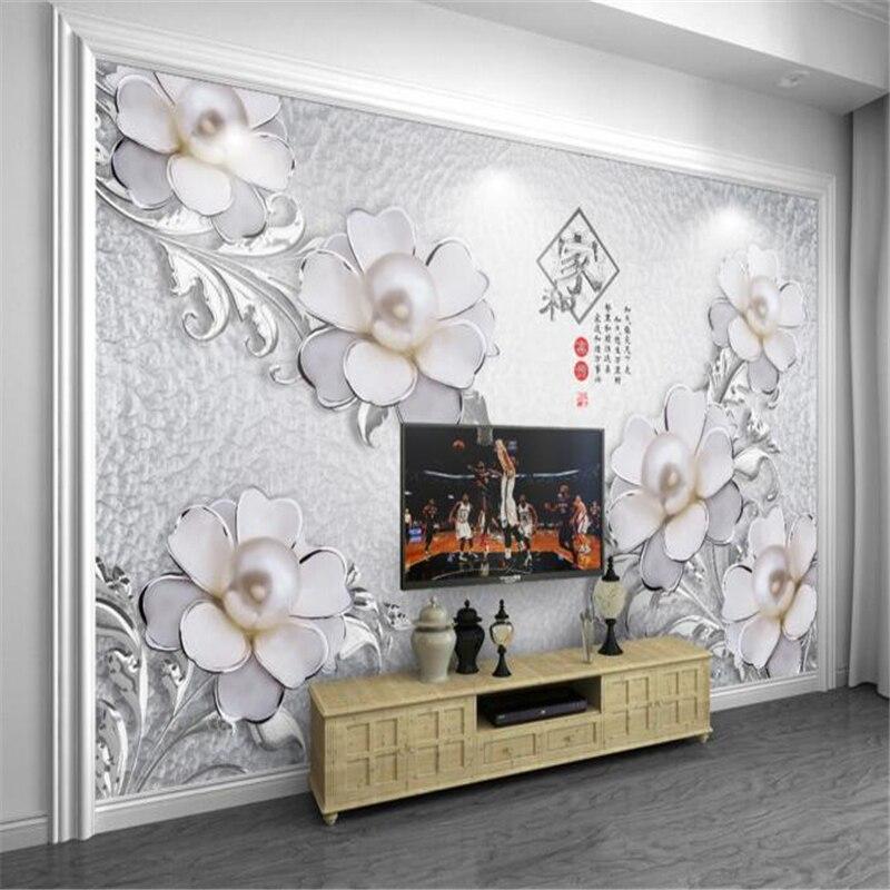 3D Wallpaper custom metal texture embossed flowers murals 3D living room bedroom TV wallpaper for walls 3 d papel de parede<br><br>Aliexpress