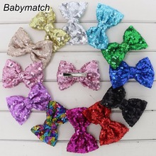 Babymatch 24pcs/lot Boutique Hair Bows Clips Girls Embroideried Sequin Cheer Bows Glitter Bow For Hair Decoration Free Shipping