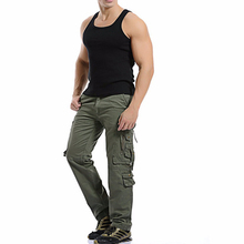 2017Hemiks New Fashion Mens Casual Military Army Style CARGO CAMO Combat Work Pants 100%Cotton Multi-Pocket Men's Cargo Trousers