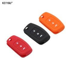 KEYYOU Silicone Car Flip folding key Cover Remote Case for Ford Fiesta Focus 2 Ecosport Kuga Escape 3 Buttons Free Shipping(China)