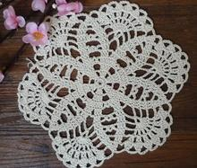 20CM Cotton placemat cup coaster mug holder kitchen handmade table place mat cloth lace round DIY Crochet doilies breakfast pad