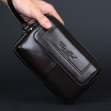 New Men's Genuine Leather Cowhide Phone Case Belt Hip Fanny waist Bag Clutch Wallet Purse For Father Christmas Gift