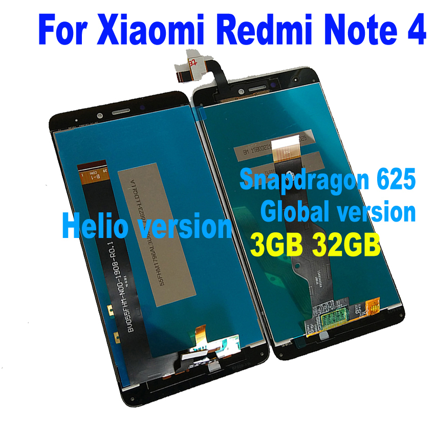 NEW for MTK Helio X20 version / global version 3GB 32GB LCD Display Touch Screen Panel Assembly For Xiaomi Redmi Note 4 parts