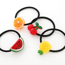 M MISM Style Girls Elastics Hair Band Fruit Pattern Cherry Banana Scrunchy Kids Hair Rope Hair Accessories Cute Gum For Hair(China)