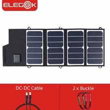 ELEGEEK 26W 5V SUNPOWER Folding Solar Panel Charger USB+DC Output 12V Solar Charger Power Bank for iPhone Battery Charger(China)