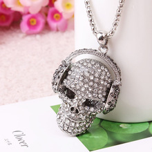 Headset Strass Sugar Skull Necklace Pendant Hippie Chic Punk Statement Jewelry Skeleton Silver Color Long Necklaces Women Collar