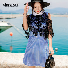 Cheerart 2017 Blue Striped Patchwork Lace Summer Beach Dress Women Sunflower Ladies Mini Shirt Dress Sundress