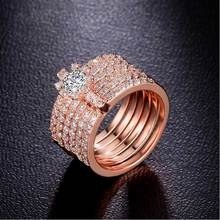 AAA Quality 6 Piece Constitute Circles Ring Micro Pave Premium Zircon Crystals Set Ring Female Luxury Jewelry