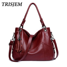 TRISJEM New European And American Style Women Tote Bag Brand Tassel Design Shoulder Bags For Women Leather Handbags Bolso Mujer(China)