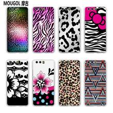 MOUGOL Black and Pink Leopard Print design transparent hard case cover for Huawei P10 P9 Plus P8 P9 lite Mate S 9 8