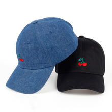 2017 New Cherry Fruits Embroidered Snapback Baseball Cap Dad Hats Man & Women Denim Blue bone Caps Adjustable Curved Hats