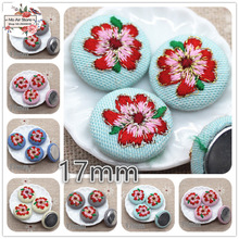 10pcs embroidery camellia flower Flatback Fabric Covered round Buttons Home Garden Crafts Cabochon Scrapbooking DIY craft 17mm