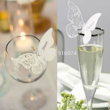 36pcs/lot Laser Cut Paper Butterfly Wine Glass Card Name Place Cup Escort Card for Wedding Christmas Birthday Party Decorations