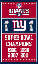 New York Giants Super Bowl Champions Flag 150X90CM Banner 100D Polyester3x5 FT flag brass grommets 001, free shipping(China)