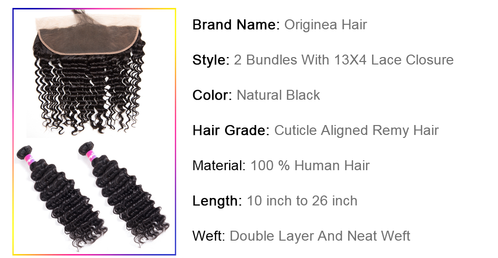 Originea Brazilian Deep Wave Remy Human Hair 13x4 Lace Frontal Closure With 2 Bundles Salon Remy Bundles Hair brazilian Peruvian malaysian Indian loose deep wave weave Curly bundles human hair with frontal closure