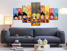 Dbz Goku Evolution 2  Canvas Painting Wall Art  5 Pieces Prints Home Decor Picture Panels Poster For Linving No Frame