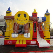 FREE SHIPPING BY SEA Smiling Face Inflatable Bouncer  Inflatable Slide Jumping House For Kids