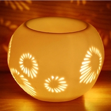 7*7*10.5cm Flower Carved White Ceramic Essential Oil Burner Air Freshener Container Home Decoration DC811(China)