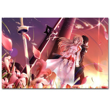 S061 Sword Online SAO ALO Fighting Hot Blood Japan Anime Art Poster Silk Light Canvas Painting Print Home Decor Wall Picture(China)