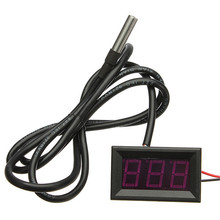 0.56 Inch 1 Meter RED LED Digital Car Thermometer Temperature Meter -55-125 Celsius Degrees DS18B20 Sensor(China)