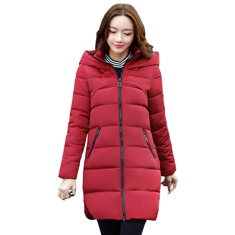 2017 Winter Coat Women Hooded Cotton Padded Parkas Wadded Warm Winter Thick Jackets Female Long Outwear Cotton Coats RE0054Îäåæäà è àêñåññóàðû<br><br>