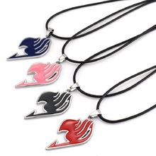 Wholesale Animation Fairy Tail Necklace High Quality Alloy Necklace With Rope Chain 4 Colors 24pcs/lot(China)
