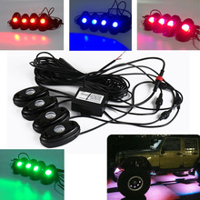 4PODS RGB LED Rock Lights Car Lamps Bluetooth App with Ios and Android control Decorate Alternate Flash Strobe Atmosphere