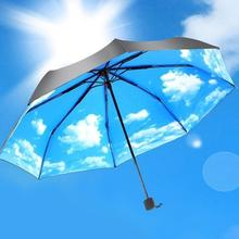 Pongee sunnny umbrella rain women umbrella,sky and clouds painting mujer parapluie,Non automatic 3 fold parasol