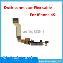 10pcs/lot New Dock Connector Charging Port Flex Cable Replacement for iPhone 4s Mobile Phone Charger Flex Cables OME