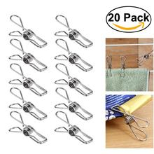 20pcs Multipurpose Stainless Steel Clothes Pegs Hanging Pins Clips Household Clamps Socks Underwear Drying Rack Holder Homeware