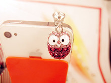 Cute Big Eyed Diamond Owl Phone Dust Plug Cell Phone Accessories 3.5mm Earphone Dust Plug(China)