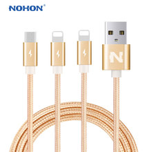Original NOHON USB Cable For Apple iPhone 7 6 6S Plus 5 5S SE iPad 4 Air 2 8Pin Micro USB Fast Charging Cable Nylon(China)