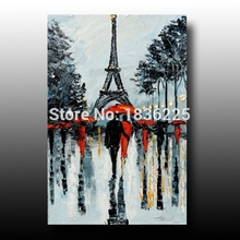 canvas painting lover hold umbrella under Eiffel knife streetscapeoil painting wall sticker wall pictures for living room(China)