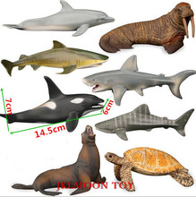 8pcs/lot Seabed Plastics Action Figure Simulation Marine Animal Model Toys Underwater World Turtle Whale Shark Action Figure