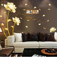 1pc elegant wall sticker Snow lotus pattern bedroom living room background stickers home decoration accessories A35(China)